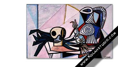 Still life with skull, leeks and pitcher | Pablo Picasso 1945